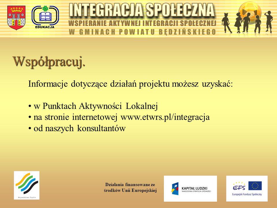 Współpracuj. Informacje dotyczące działań projektu możesz uzyskać: w Punktach Aktywności Lokalnej na stronie internetowej www.etwrs.pl/integracja od n