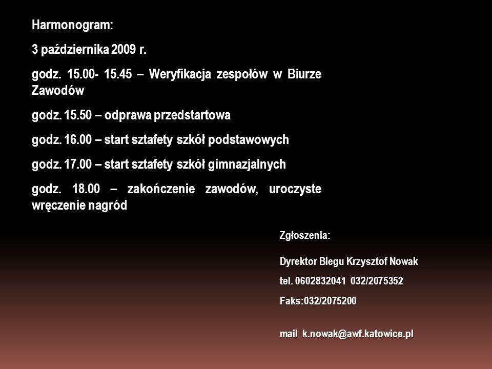 Harmonogram: 3 października 2009 r. godz. 15.00- 15.45 – Weryfikacja zespołów w Biurze Zawodów godz. 15.50 – odprawa przedstartowa godz. 16.00 – start