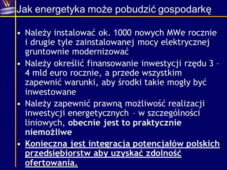 Jak energetyka może pobudzić gospodarkę Należy instalować ok. 1000 nowych MWe rocznie i drugie tyle zainstalowanej mocy elektrycznej gruntownie modern
