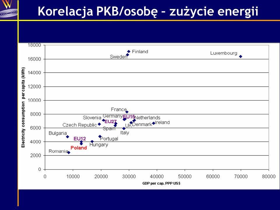 Korelacja PKB/osobę – zużycie energii
