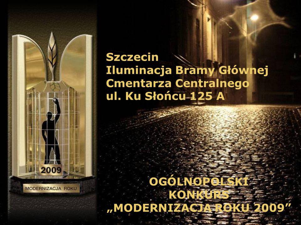 Szczecin Iluminacja Bramy Głównej Cmentarza Centralnego ul.