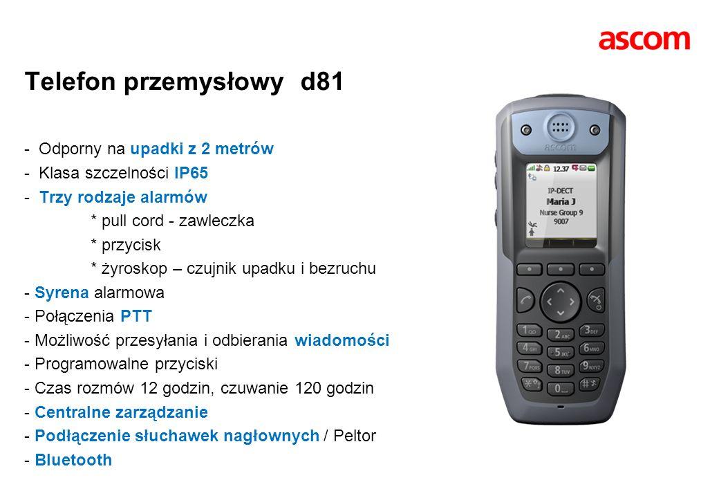 Telefon przemysłowy d81 - Odporny na upadki z 2 metrów - Klasa szczelności IP65 - Trzy rodzaje alarmów * pull cord - zawleczka * przycisk * żyroskop –
