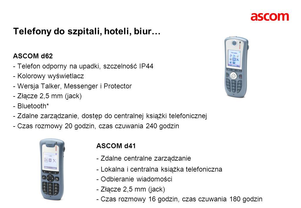 Telefony do szpitali, hoteli, biur… ASCOM d62 - Telefon odporny na upadki, szczelność IP44 - Kolorowy wyświetlacz - Wersja Talker, Messenger i Protect