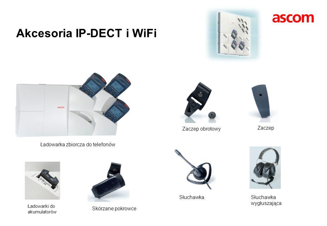 Zaczep obrotowy Zaczep Słuchawka Słuchawka wygłuszająca Skórzane pokrowce Akcesoria IP-DECT i WiFi Ładowarka zbiorcza do telefonów Ładowarki do akumul
