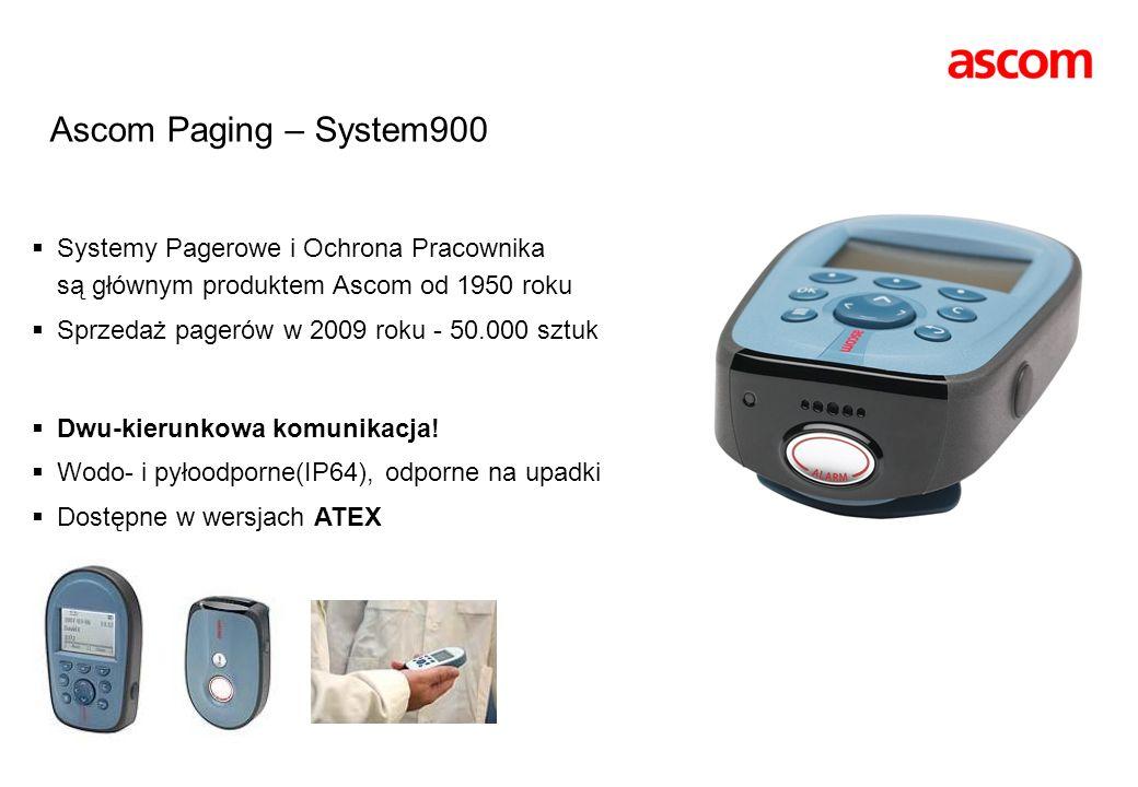 Ascom Paging – System900 Systemy Pagerowe i Ochrona Pracownika są głównym produktem Ascom od 1950 roku Sprzedaż pagerów w 2009 roku - 50.000 sztuk Dwu
