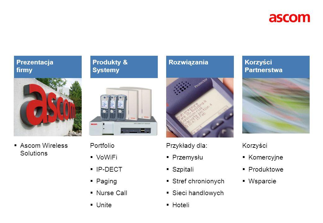 Ascom Wireless Solutions Portfolio VoWiFi IP-DECT Paging Nurse Call Unite Przykłady dla: Przemysłu Szpitali Stref chronionych Sieci handlowych Hoteli