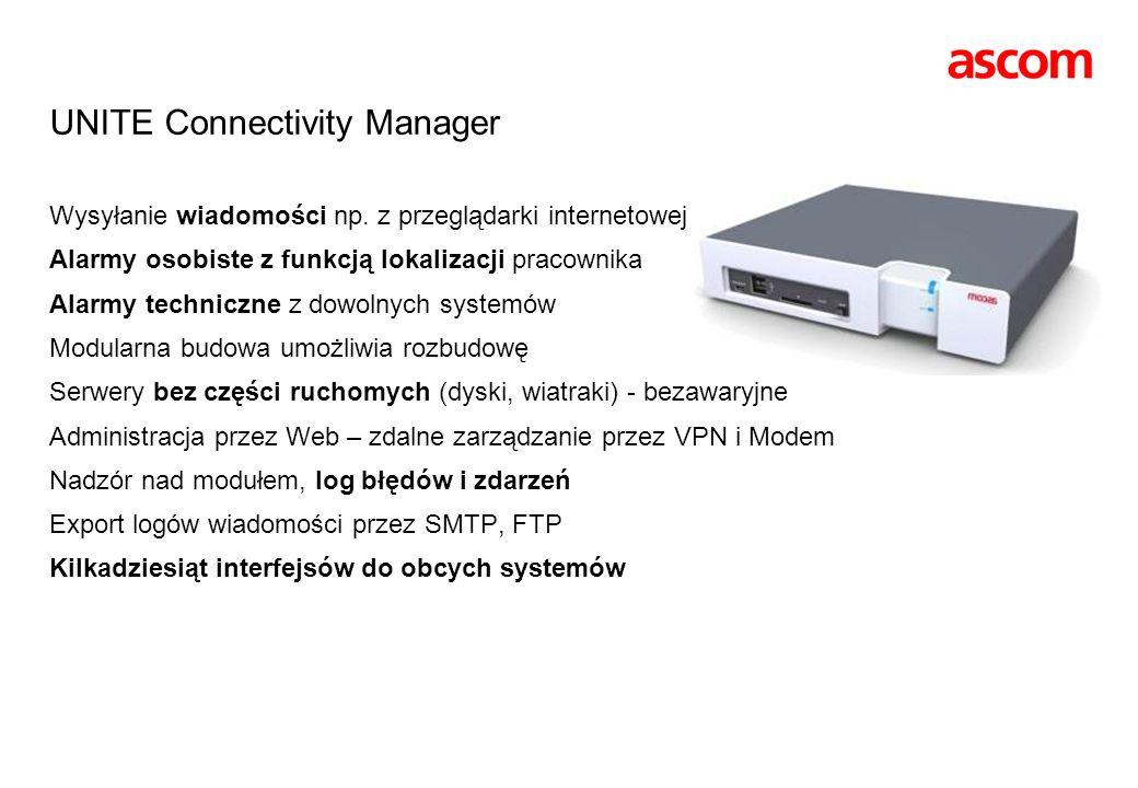 UNITE Connectivity Manager Wysyłanie wiadomości np. z przeglądarki internetowej Alarmy osobiste z funkcją lokalizacji pracownika Alarmy techniczne z d
