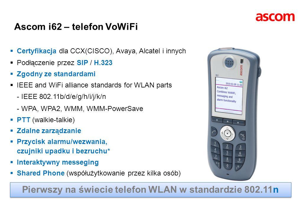 Ascom i62 – telefon VoWiFi Certyfikacja dla CCX(CISCO), Avaya, Alcatel i innych Podłączenie przez SIP / H.323 Zgodny ze standardami IEEE and WiFi alli