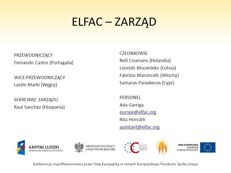 ELFAC – ZARZĄD PRZEWODNICZĄCY Fernando Castro (Portugalia) WICE-PRZEWODNICZĄCY Laszlo Marki (Węgry) SEKRETARZ ZARZĄDU Raul Sanchez (Hiszpania) CZŁONKO