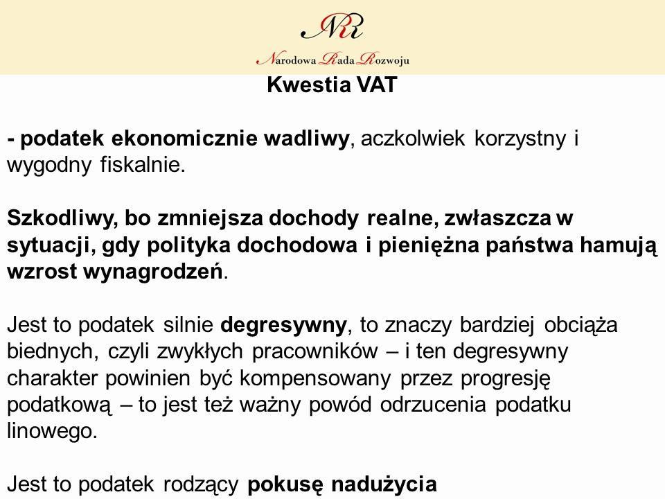 Kwestia VAT - podatek ekonomicznie wadliwy, aczkolwiek korzystny i wygodny fiskalnie. Szkodliwy, bo zmniejsza dochody realne, zwłaszcza w sytuacji, gd