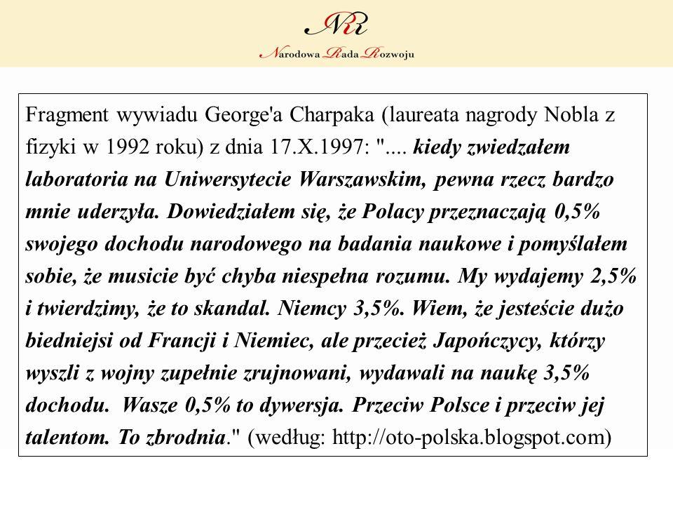 Fragment wywiadu George'a Charpaka (laureata nagrody Nobla z fizyki w 1992 roku) z dnia 17.X.1997: