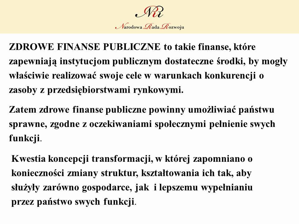 ZDROWE FINANSE PUBLICZNE to takie finanse, które zapewniają instytucjom publicznym dostateczne środki, by mogły właściwie realizować swoje cele w waru