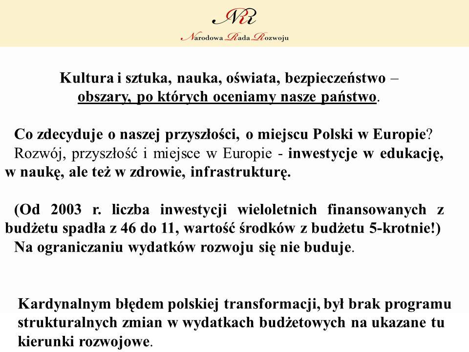 Kardynalnym błędem polskiej transformacji, był brak programu strukturalnych zmian w wydatkach budżetowych na ukazane tu kierunki rozwojowe. Kultura i