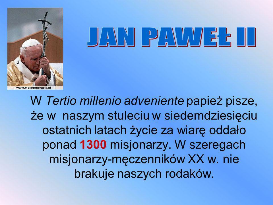 W Tertio millenio adveniente papież pisze, że w naszym stuleciu w siedemdziesięciu ostatnich latach życie za wiarę oddało ponad 1300 misjonarzy. W sze