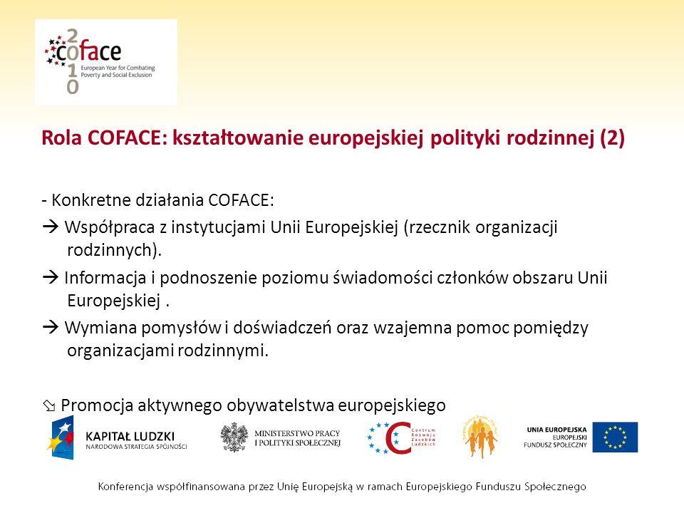 Rola COFACE: kształtowanie europejskiej polityki rodzinnej (2) - Konkretne działania COFACE: Współpraca z instytucjami Unii Europejskiej (rzecznik organizacji rodzinnych).