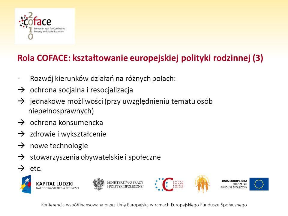 Rola COFACE: kształtowanie europejskiej polityki rodzinnej (3) - Rozwój kierunków działań na różnych polach: ochrona socjalna i resocjalizacja jednakowe możliwości (przy uwzględnieniu tematu osób niepełnosprawnych) ochrona konsumencka zdrowie i wykształcenie nowe technologie stowarzyszenia obywatelskie i społeczne etc.