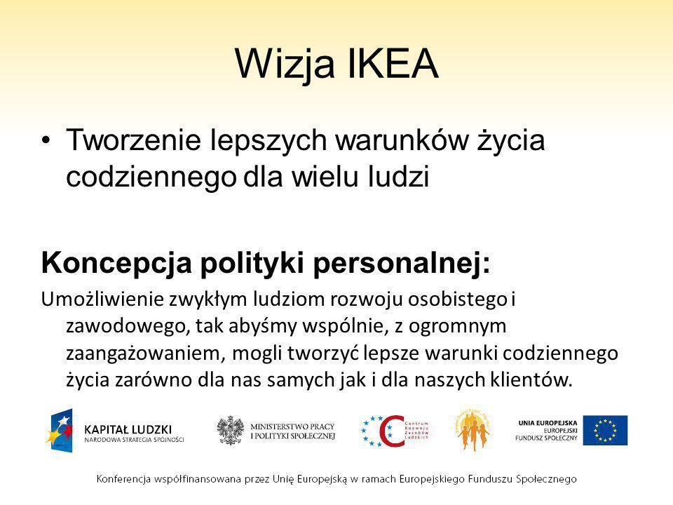 Wizja IKEA Tworzenie lepszych warunków życia codziennego dla wielu ludzi Koncepcja polityki personalnej: Umożliwienie zwykłym ludziom rozwoju osobiste