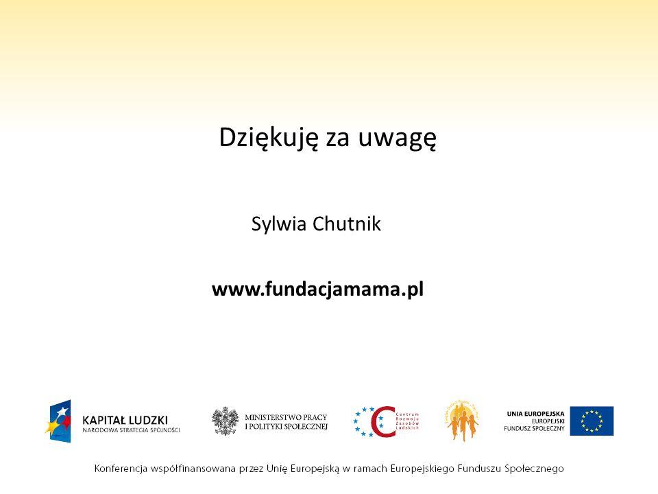 Dziękuję za uwagę Sylwia Chutnik www.fundacjamama.pl