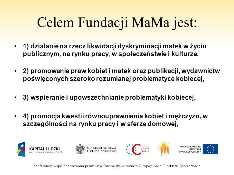 Celem Fundacji MaMa jest: 1) działanie na rzecz likwidacji dyskryminacji matek w życiu publicznym, na rynku pracy, w społeczeństwie i kulturze, 2) pro