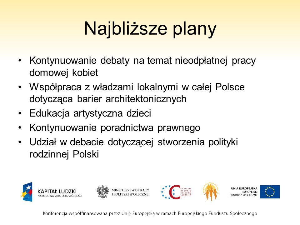 Najbliższe plany Kontynuowanie debaty na temat nieodpłatnej pracy domowej kobiet Współpraca z władzami lokalnymi w całej Polsce dotycząca barier archi
