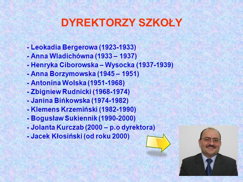 DYREKTORZY SZKOŁY - Leokadia Bergerowa (1923-1933) - Anna Wladichówna (1933 – 1937) - Henryka Ciborowska – Wysocka (1937-1939) - Anna Borzymowska (194