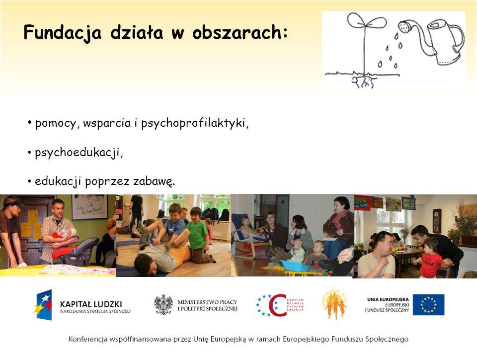 Fundacja działa w obszarach: pomocy, wsparcia i psychoprofilaktyki, psychoedukacji, edukacji poprzez zabawę.