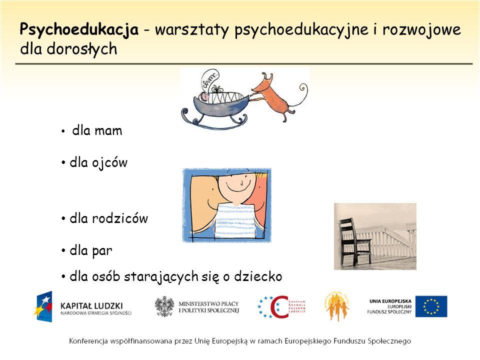 Psychoedukacja - warsztaty psychoedukacyjne i rozwojowe dla dorosłych dla mam dla ojców dla rodziców dla par dla osób starających się o dziecko