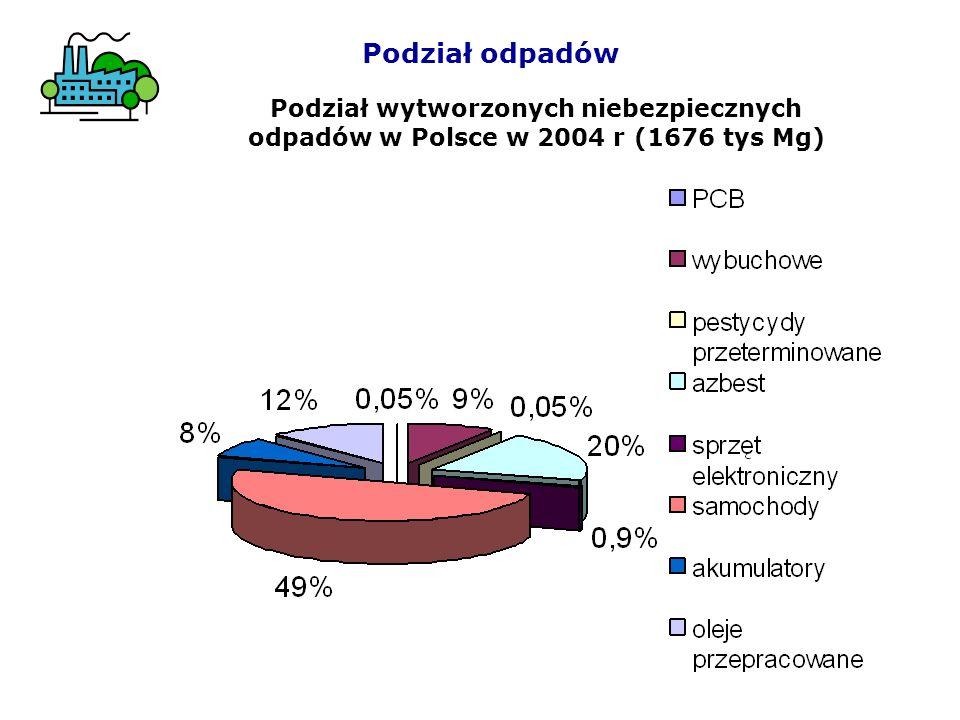 Podział wytworzonych niebezpiecznych odpadów w Polsce w 2004 r (1676 tys Mg)