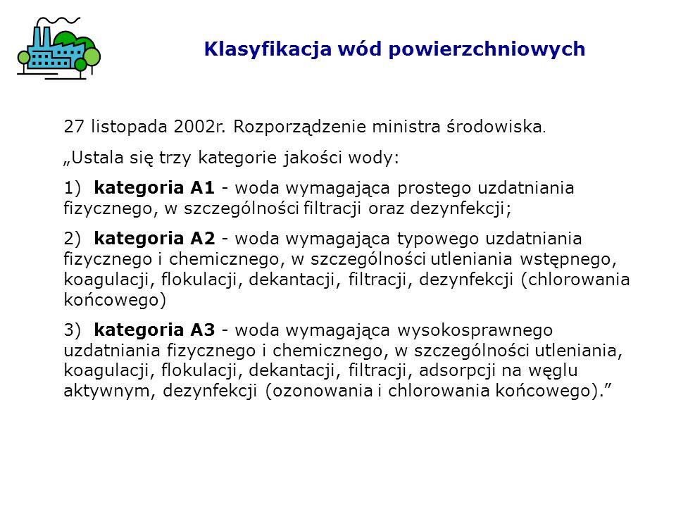 Klasyfikacja wód powierzchniowych 27 listopada 2002r. Rozporządzenie ministra środowiska. Ustala się trzy kategorie jakości wody: 1) kategoria A1 - wo