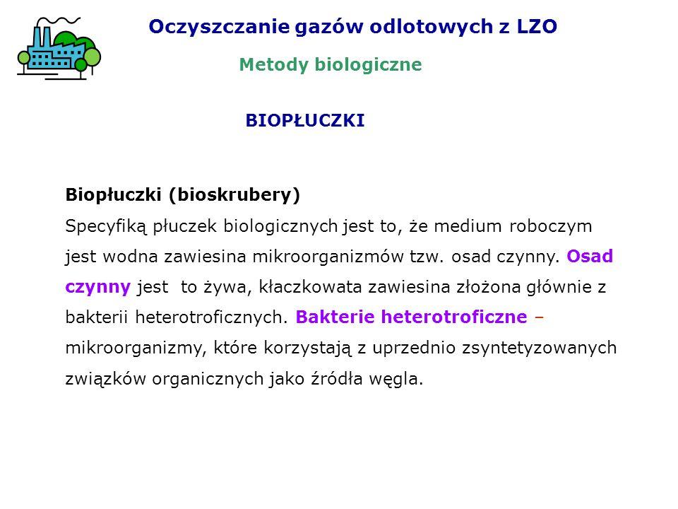 Biopłuczki (bioskrubery) Specyfiką płuczek biologicznych jest to, że medium roboczym jest wodna zawiesina mikroorganizmów tzw. osad czynny. Osad czynn