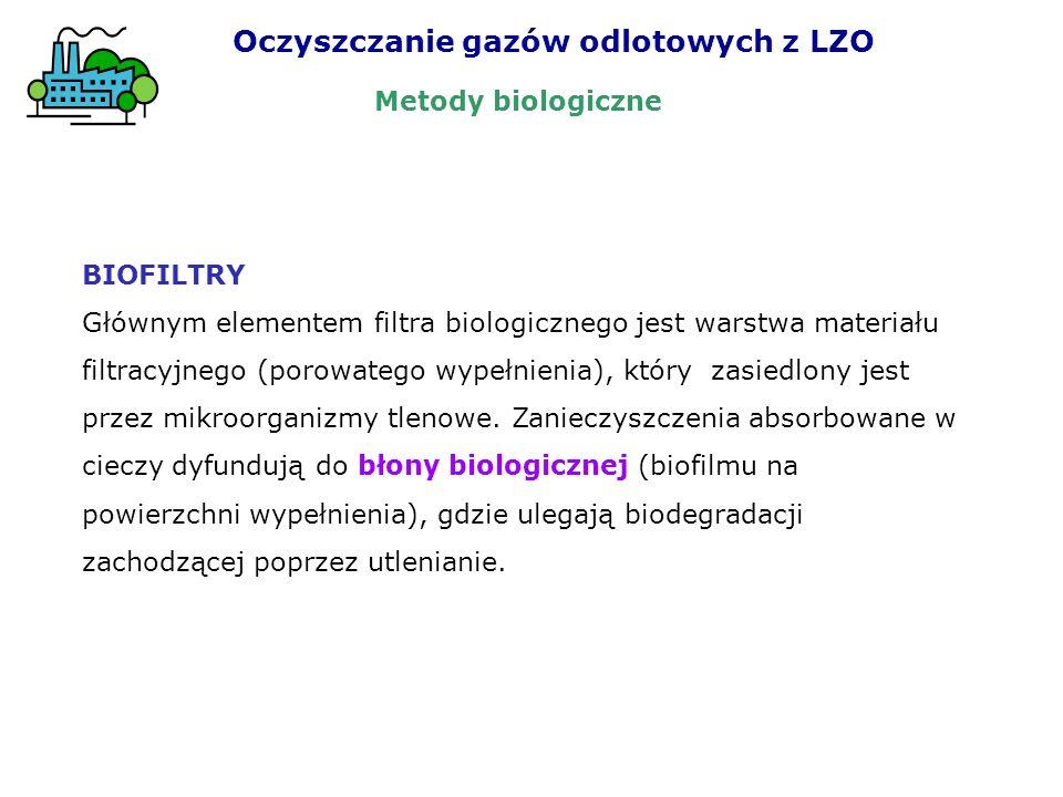 BIOFILTRY Głównym elementem filtra biologicznego jest warstwa materiału filtracyjnego (porowatego wypełnienia), który zasiedlony jest przez mikroorgan