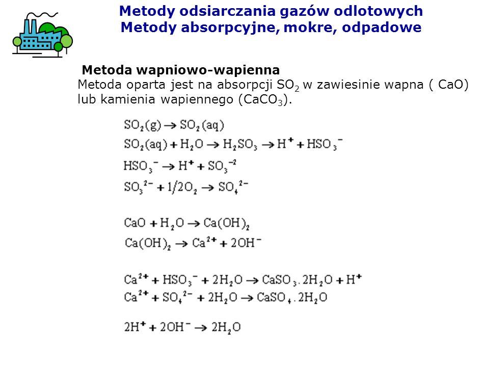 Metoda wapniowo-wapienna Metoda oparta jest na absorpcji SO 2 w zawiesinie wapna ( CaO) lub kamienia wapiennego (CaCO 3 ). Metody odsiarczania gazów o