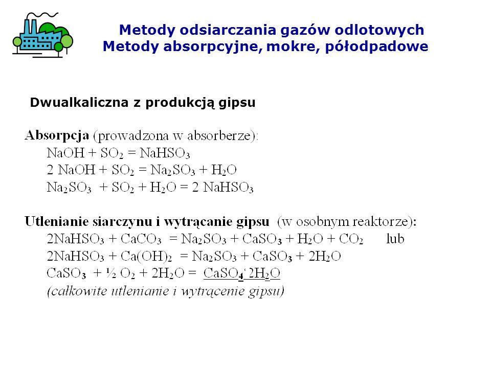 Metody odsiarczania gazów odlotowych Metody absorpcyjne, mokre, półodpadowe Dwualkaliczna z produkcją gipsu