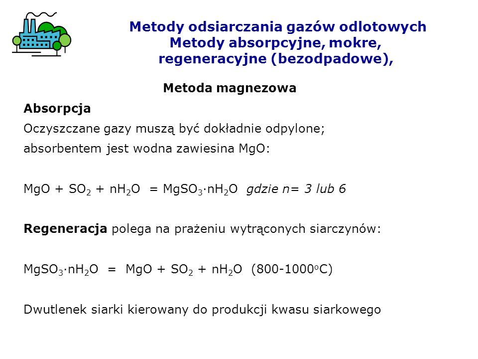 Metody odsiarczania gazów odlotowych Metody absorpcyjne, mokre, regeneracyjne (bezodpadowe), Metoda magnezowa Absorpcja Oczyszczane gazy muszą być dok