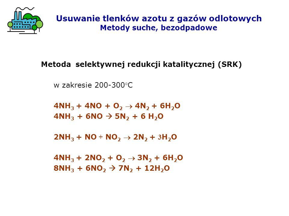 Metoda selektywnej redukcji katalitycznej (SRK) w zakresie 200-300°C 4NH 3 + 4NO + O 2 4N 2 + 6H 2 O 4NH 3 + 6NO 5N 2 + 6 H 2 O 2NH 3 + NO + NO 2 2N 2