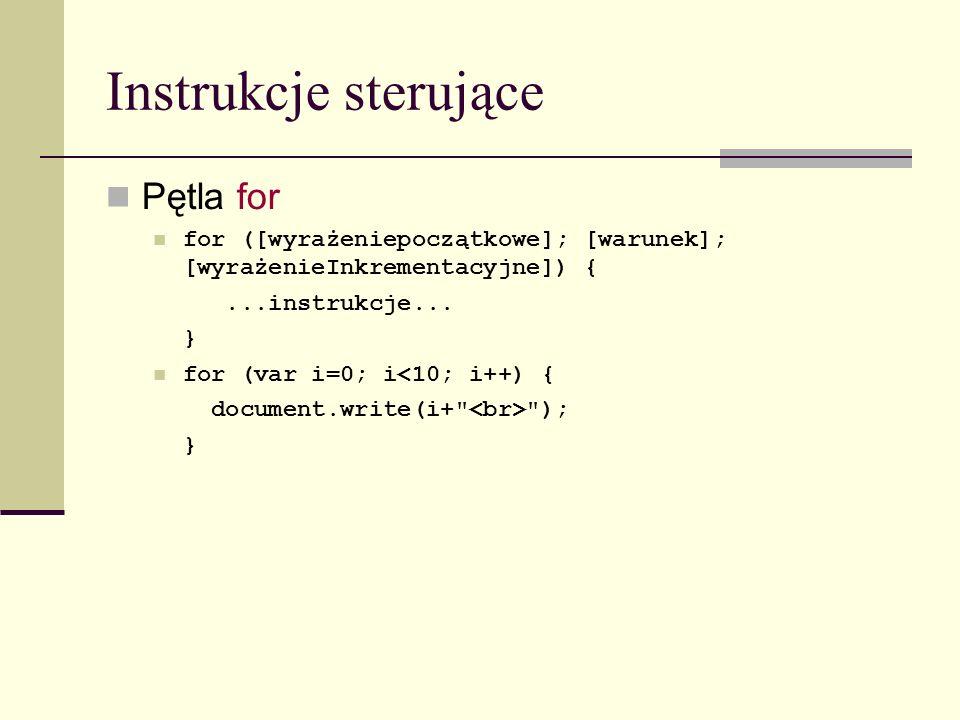 Instrukcje sterujące Pętla for for ([wyrażeniepoczątkowe]; [warunek]; [wyrażenieInkrementacyjne]) {...instrukcje...