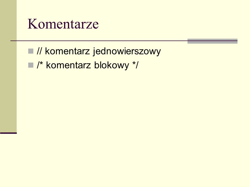 Obiekty i metody - Array Metody pop() – usuwa i zwraca ostatni element tablicy colours = [ red , black , white ]; kolorek = colours.pop(); // white push(elem1,...,elemN) – wstawia elementy na koniec tablicy i zwraca nowy rozmiar colours = [ red , black ]; ile = colours.push( white ); // 3 reverse() – odwraca kolejność elementów a = new Array( Jeden , Dwa , Trzy ) a.reverse() // [ Trzy , Dwa , Jeden ]