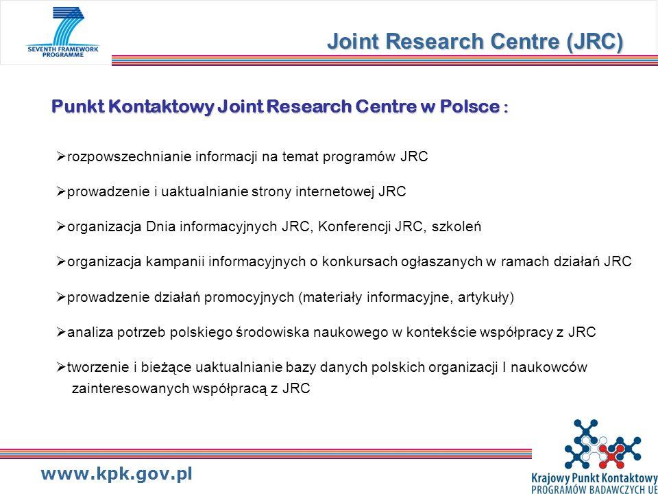 www.kpk.gov.pl Miejsce Joint Research Centre w 7.PR : Joint Research Centre (JRC) Współpraca – badania w ramach współpracy Pomysły – badania pionierskie Ludzie – działania programu Marie Curie Możliwości – potencjał badawczy + Działania JRC nienależące do obszaru badań jądrowych Bezpośrednie działania Euratom – badania jądrowe JRC Pośrednie działania Euratom – badania nad syntezą i rozszczepieniem jądrowym