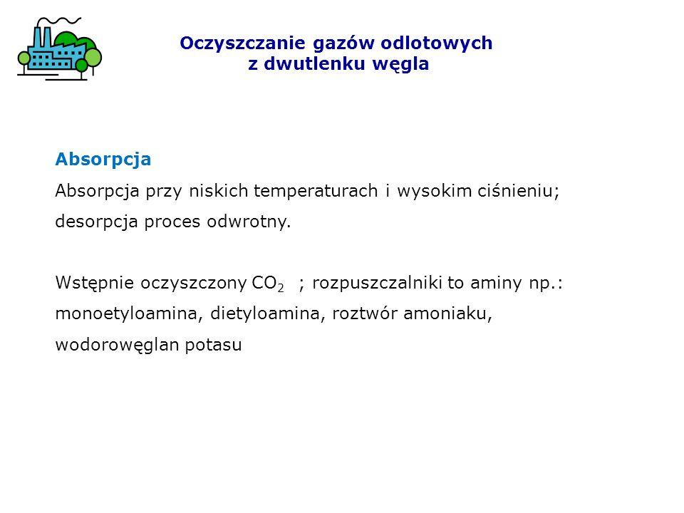 Oczyszczanie gazów odlotowych z dwutlenku węgla Absorpcja Absorpcja przy niskich temperaturach i wysokim ciśnieniu; desorpcja proces odwrotny. Wstępni