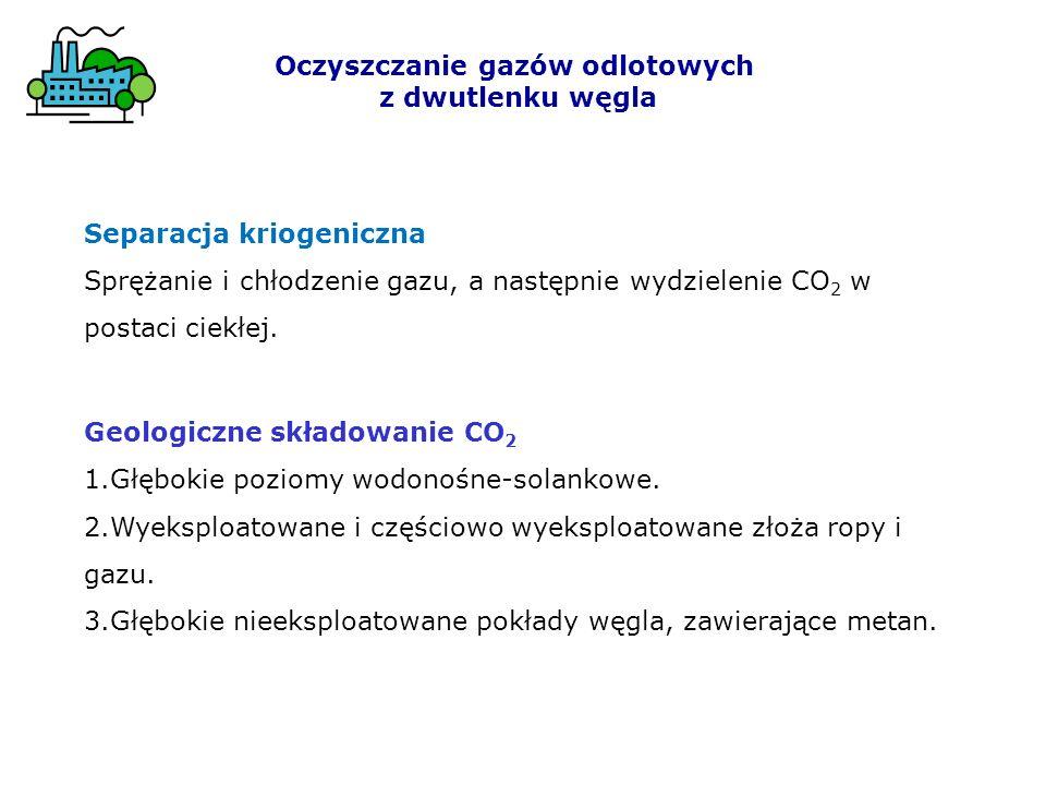 Oczyszczanie gazów odlotowych z dwutlenku węgla Geologiczne składowanie CO 2 1.Głębokie poziomy wodonośne-solankowe. 2.Wyeksploatowane i częściowo wye