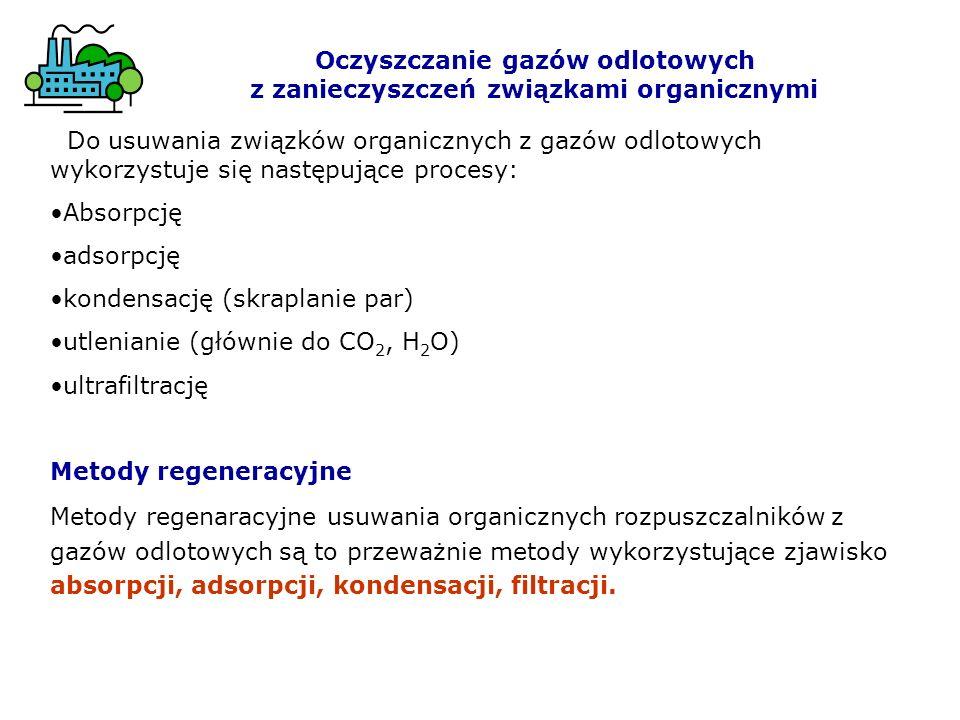 Do usuwania związków organicznych z gazów odlotowych wykorzystuje się następujące procesy: Absorpcję adsorpcję kondensację (skraplanie par) utlenianie