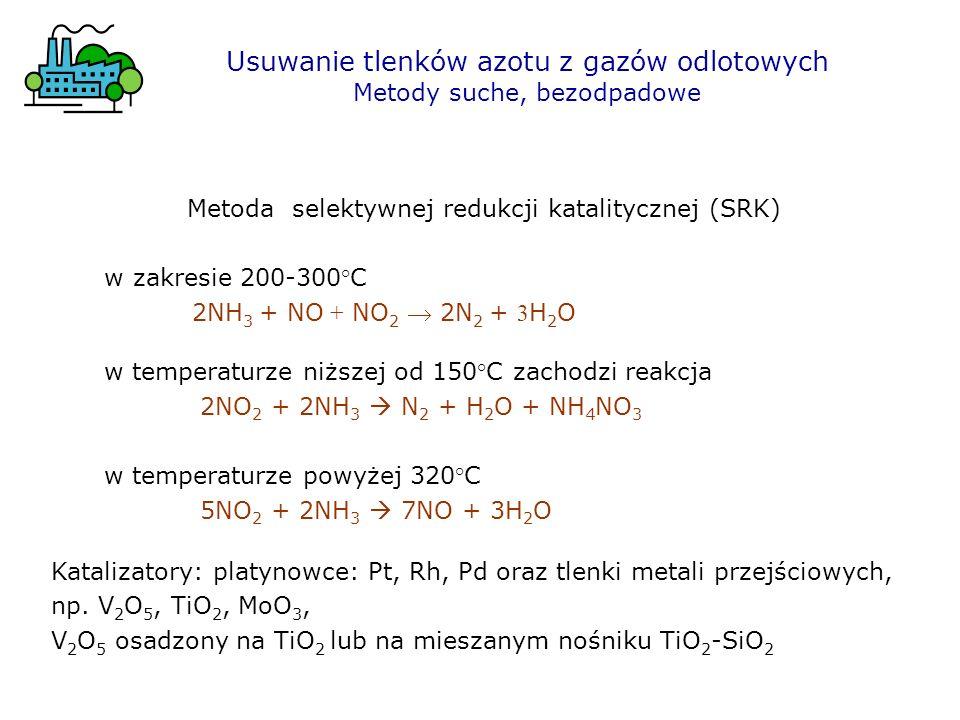 Metoda selektywnej redukcji katalitycznej (SRK) w zakresie 200-300°C 2NH 3 + NO + NO 2 2N 2 + 3 H 2 O Usuwanie tlenków azotu z gazów odlotowych Metody