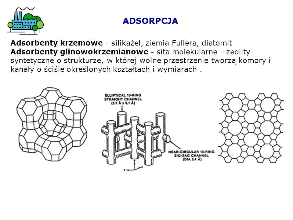 ADSORPCJA Adsorbenty krzemowe - silikażel, ziemia Fullera, diatomit Adsorbenty glinowokrzemianowe - sita molekularne - zeolity syntetyczne o strukturz