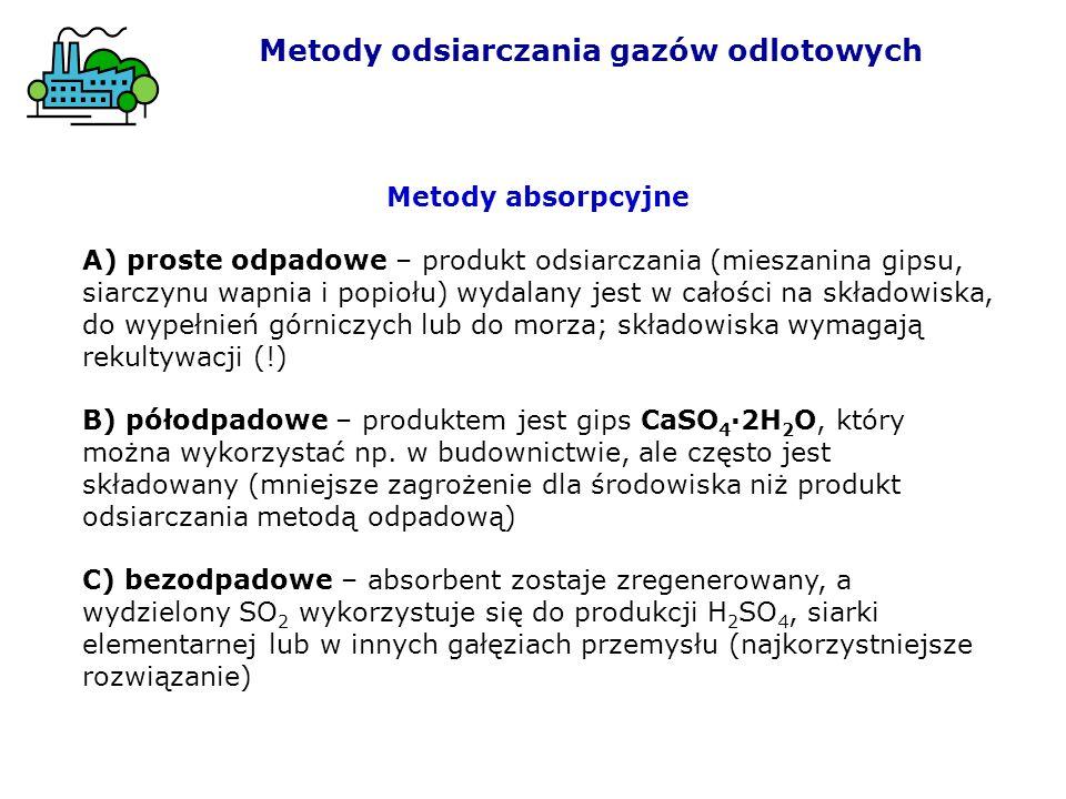 Metody absorpcyjne A) proste odpadowe – produkt odsiarczania (mieszanina gipsu, siarczynu wapnia i popiołu) wydalany jest w całości na składowiska, do