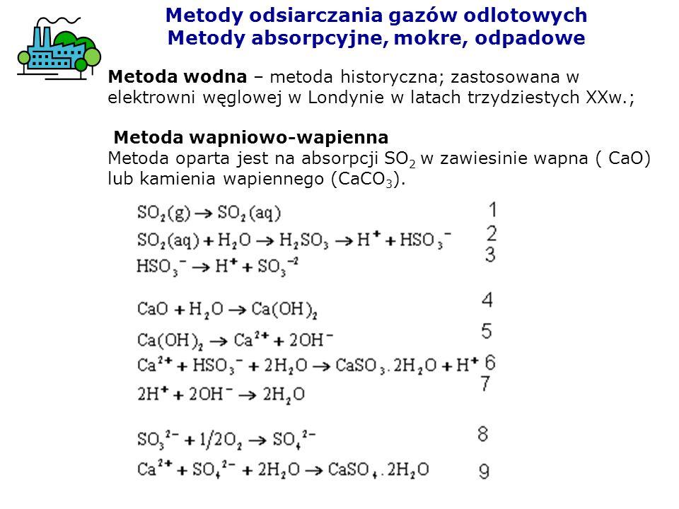 Metoda wodna – metoda historyczna; zastosowana w elektrowni węglowej w Londynie w latach trzydziestych XXw.; Metoda wapniowo-wapienna Metoda oparta je