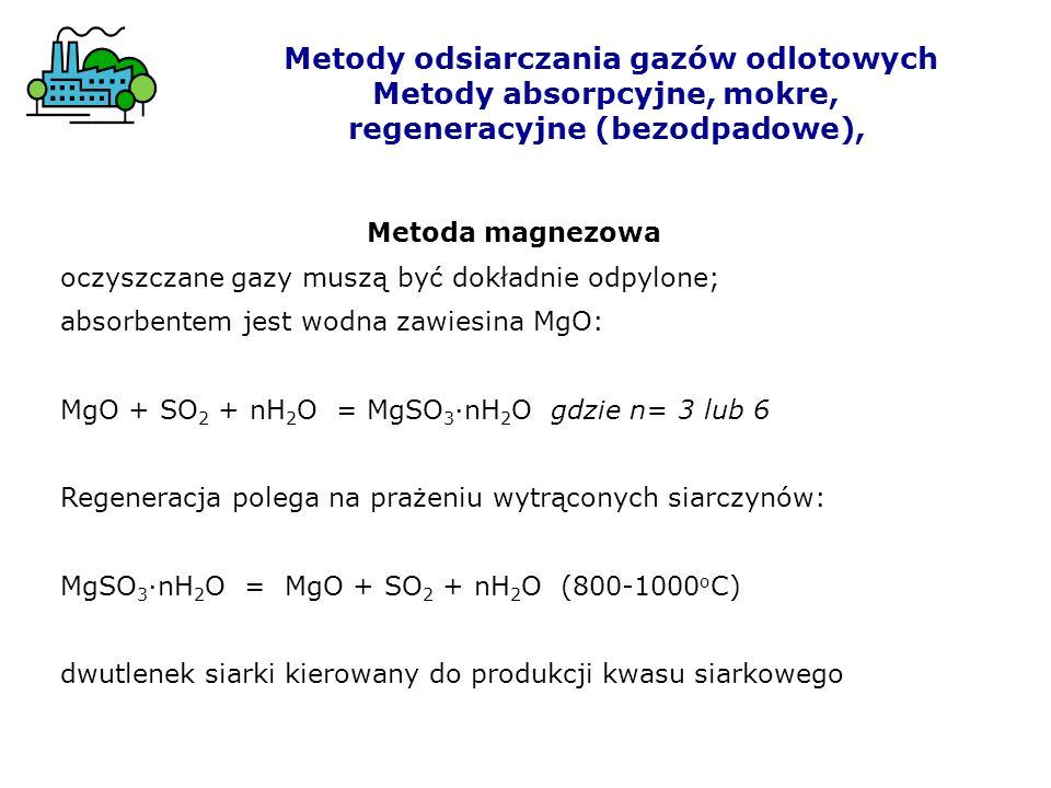 Metody odsiarczania gazów odlotowych Metody absorpcyjne, mokre, regeneracyjne (bezodpadowe), Metoda magnezowa oczyszczane gazy muszą być dokładnie odp