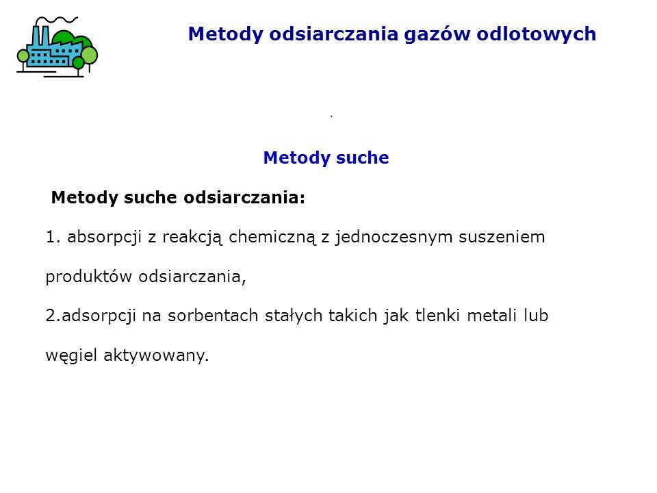 Metody odsiarczania gazów odlotowych. Metody suche Metody suche odsiarczania: 1. absorpcji z reakcją chemiczną z jednoczesnym suszeniem produktów odsi
