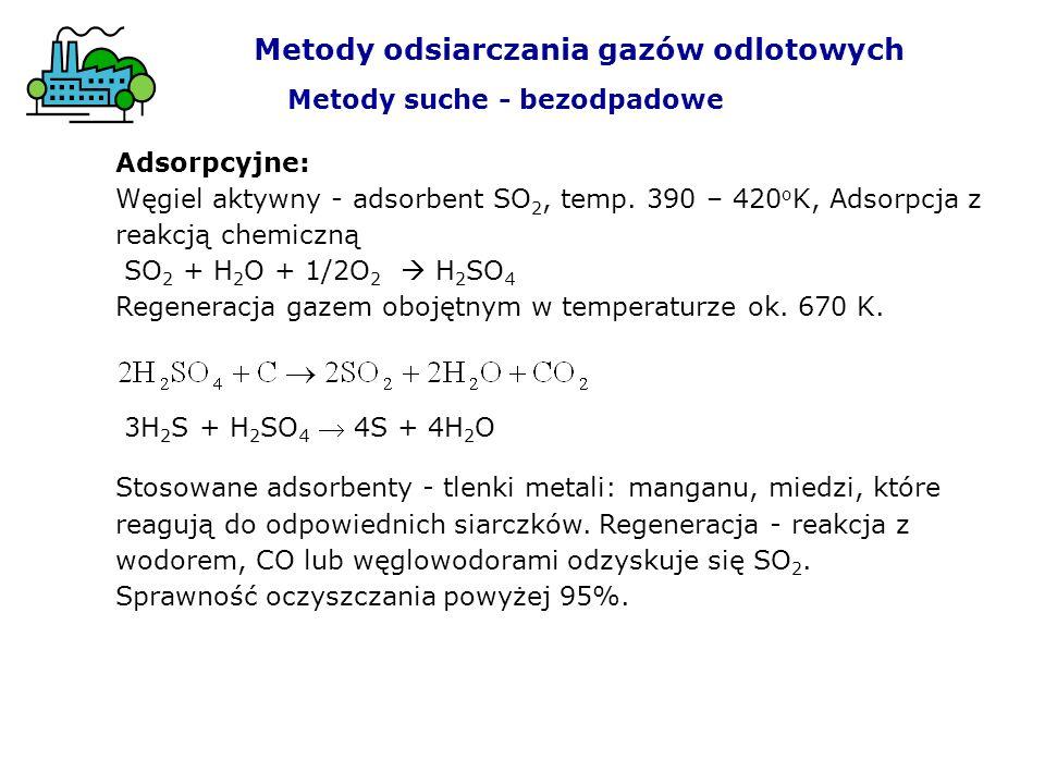Adsorpcyjne: Węgiel aktywny - adsorbent SO 2, temp. 390 – 420 o K, Adsorpcja z reakcją chemiczną SO 2 + H 2 O + 1/2O 2 H 2 SO 4 Regeneracja gazem oboj