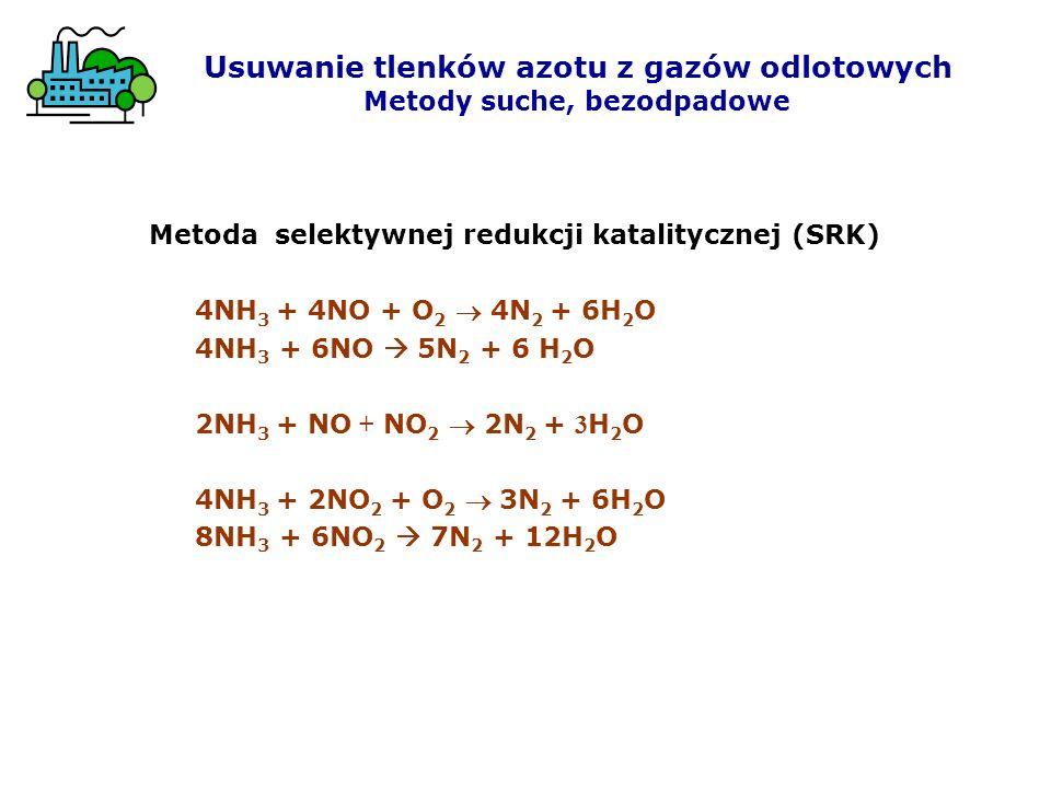 Metoda selektywnej redukcji katalitycznej (SRK) 4NH 3 + 4NO + O 2 4N 2 + 6H 2 O 4NH 3 + 6NO 5N 2 + 6 H 2 O 2NH 3 + NO + NO 2 2N 2 + 3 H 2 O 4NH 3 + 2N