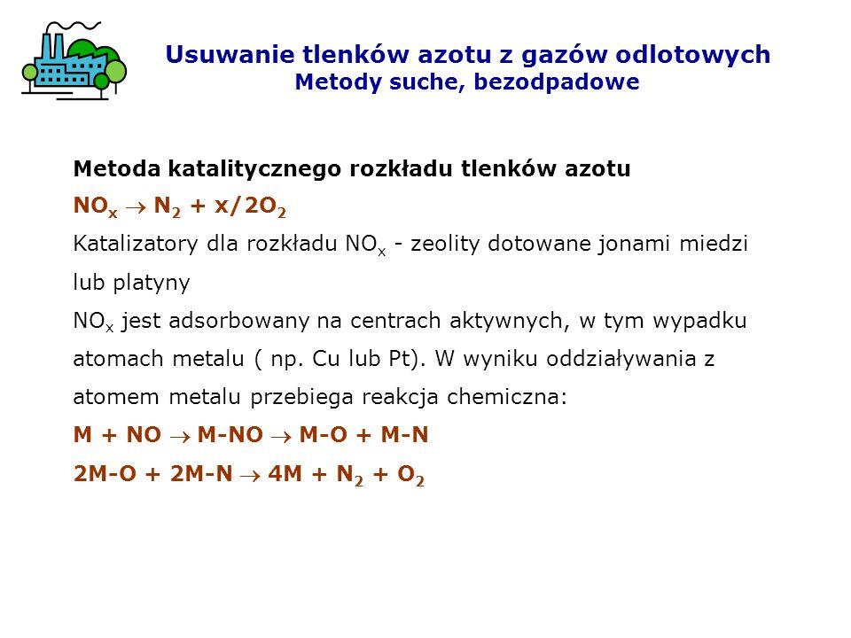 Metoda katalitycznego rozkładu tlenków azotu NO x N 2 + x/2O 2 Katalizatory dla rozkładu NO x - zeolity dotowane jonami miedzi lub platyny NO x jest a